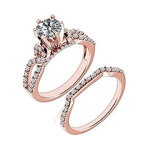 1.58 Carat G-H I2-I3 Diamond Engagement Wedding Anniversary Halo Bridal Ring Set 14K Rose Gold