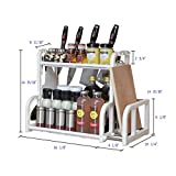 Mehousa 2-Tier Kitchen Storage Organizer with Cutting Board Rack & Hanging Hooks | Sturdy Plastic & Rust-Free Stainless Steel | Best Countertop Organizing Shelf Stand for Utensils, Spices & More