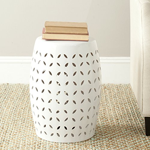 Safavieh Castle Gardens Collection Lattice Petal Ceramic Garden Stool, White (Outdoor Ceramic Stools)