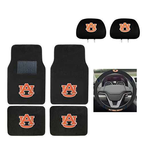 MULTI_B Auburn University Automotive Gift Set. Logo On Front and Rear Auto Floor Liner. You get 2 Head Rest Cover 4 Floor Mat and 1 Wheel Cover in This Gift Set. Perfect to Auburn Tigers Fan (Accessories Auburn Car)