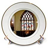 3dRose Jos Fauxtographee- Stained Glass Church - Stained Glass Window in a Chapel in Ireland - 8 inch Porcelain Plate (cp_294507_1)