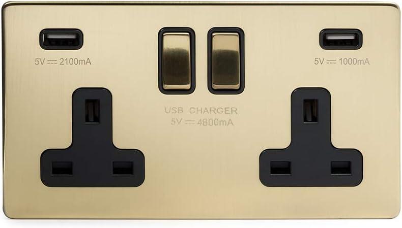 Soho Lighting Brushed Chrome 13A 2 Gang Floor Socket Blk Ins