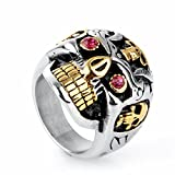 Oakky Men's 316l Stainless Steel Hip Hop Red Eyes Gold Teeth Skull Ring Size 12