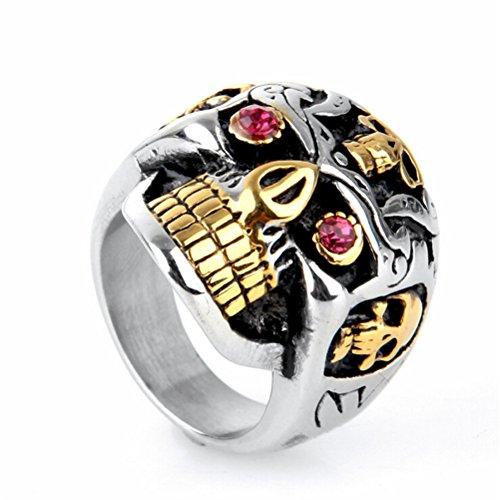 Oakky Men's 316l Stainless Steel Hip Hop Red Eyes Gold Teeth Skull Ring Size 12 by Oakky