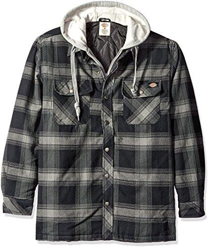 Dickies Men's Relaxed Fit Hooded Yarn Dye Plaid Shirt Jacket, Black/Smoke, XXL-Tall (Dickies Shirt Jacket For Men)