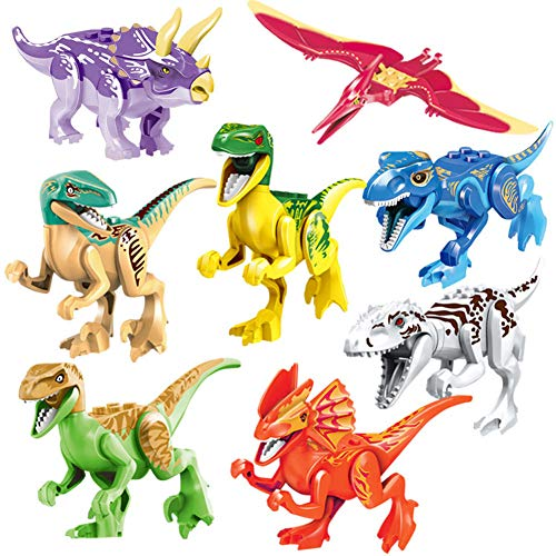 PBOX 8-Pcs Dinosaur Building Blocks for 3 4 5+ Year Old Boys & Girls, Action Figures Toy Set Jurrasic World Dinosaur Toys for Kids,Toddler Dinosaur -