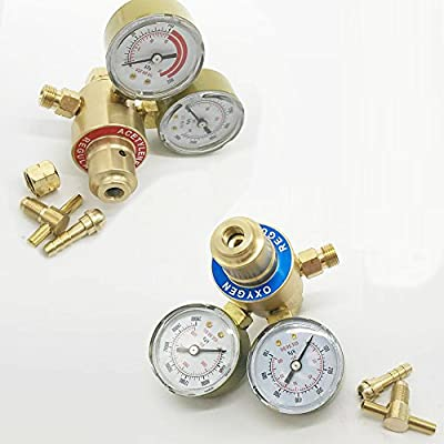 iMeshbean 2 Piece Set Solid Brass Oxygen & Acetylene Regulators for Victor Gas Welding Torch Cutting Welder Kit USA