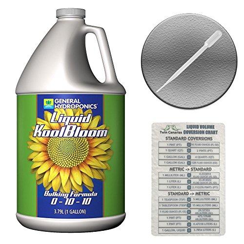 Koolbloom Liquid (GENERAL HYDROPONICS LIQUID KOOLBLOOM FERTILIZER NUTRIENT + PIPETTE & TWIN CANARIES CHART - 1 gal gallon)