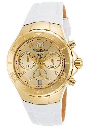 Technomarine Women's Eva Longoria Quartz Watch with Leather Calfskin Strap, White, 22 (Model: TM-416034