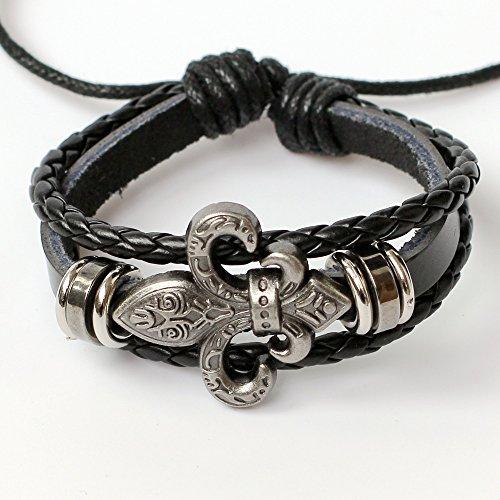Men's leather bracelet Women's leather bracelet Fleur de lis bracelet Charm bracelet Braided leather bracelet Woven leather bracelet Leather bands bracelet Leather bangle bracelet Fashion (Fleur Leather)