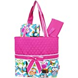 Light Aqua & White Chevron Owl Print 3pc. Diaper Bag (Hotpink)
