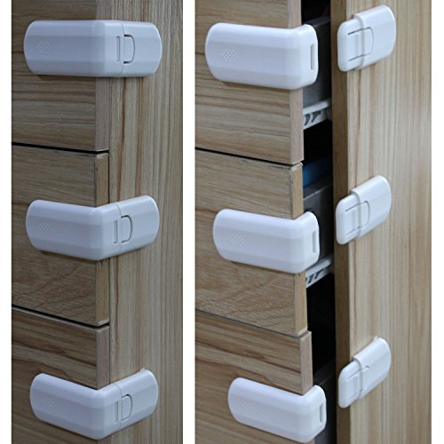 Child Safety Locks ABS Baby Safety Locks Used for Locking Cabinet Drawer Cupboard Refrigerator and Corner Protector,infant Safety Cabinet Locks 3M Adhesive Easiest Installation, 6 Pack (White) (Right Angle Panels)