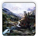Rikki Knight Thomas Moran Art Mounting of The Holy Cross Design Square Fridge Magnet