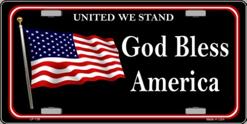 Smart Blonde God Bless America United We Stand Vanity Metal Novelty License Plate Tag -