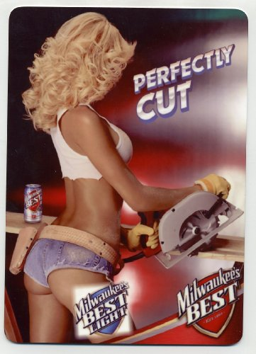 Old Milwaukee Beer Signs - Milwaukees Best metal counter display sign - Sexy Carpenter