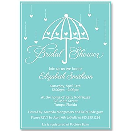 bridal shower invitations umbrella wedding aqua teal blue white set