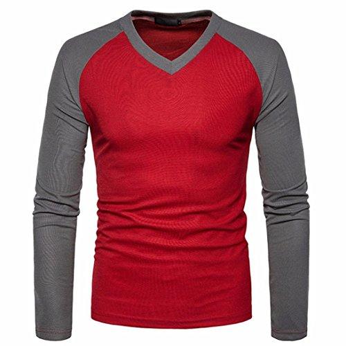 kaifongfu Mens Top, Casual Long Sleeve Shirt Slim Fit Shirt V Neck Patchwork Blouse (XL, (Seersucker Patchwork)