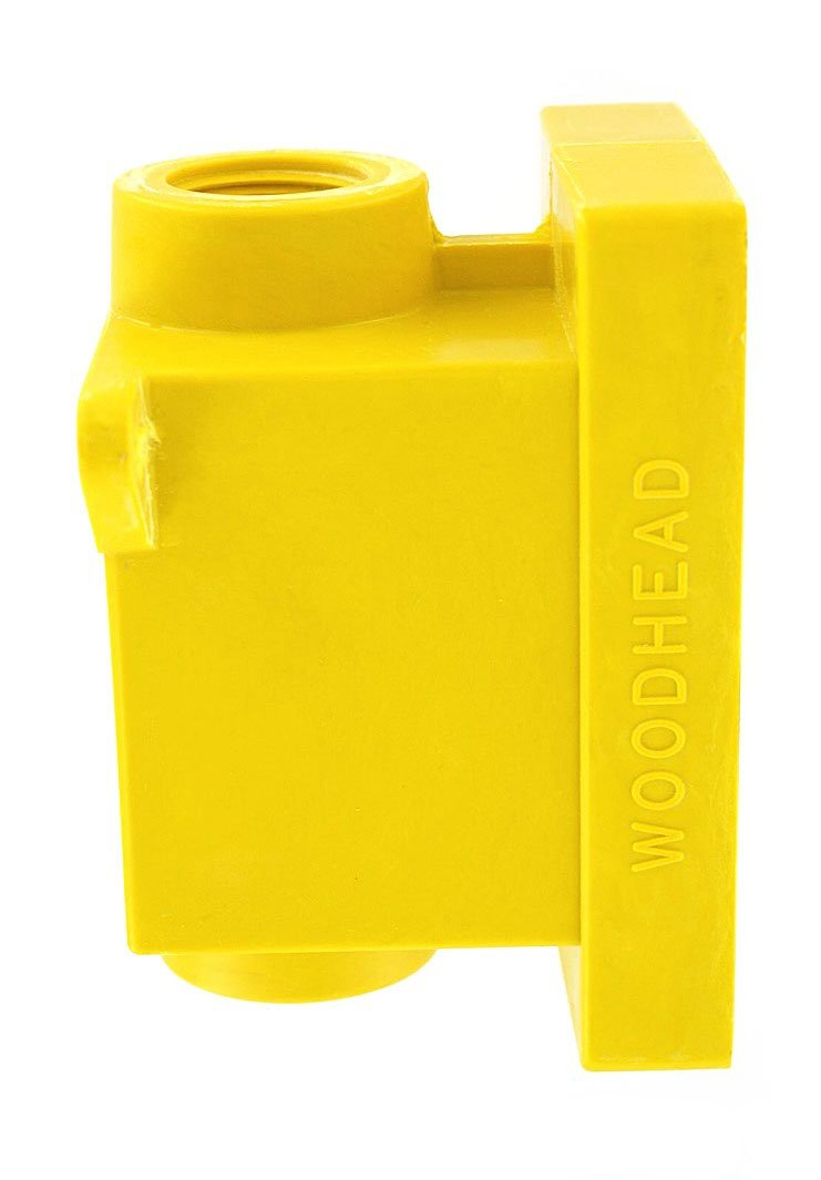 Leviton 453CR Fd Box 2 Ko Openings 3/4-Inch for Straight, Locking Receptacle, Wetguard IP66, Yellow