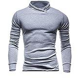 Software : Autumn Winter Men's Crewneck Sweatshirt Solid Long Sleeved Pullover Sweatshirt Top Blouse (Gray, M)
