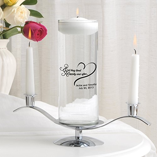 Personalized Unity Candle Set - Personalized Floating Wedding Unity Candle - Personalized Wedding Candle - Happily Ever After