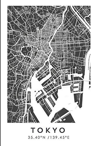 TOKYO 35.40ºN /139.45ºE: Cuaderno de viaje. Diario, bullet journal, bujo, Diseñado en Barcelona, cuaderno de dibujo, sketchbook, bujo, cuadrícula de ... de viajes, mapa de ciudades (CITY MAPS) por Wanderty
