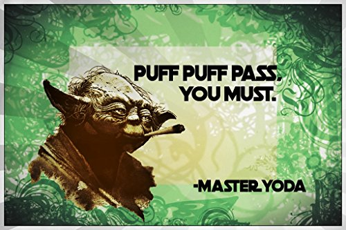 Puff Puff Pass You Must - Master Yoda Vinyl Decal Sticker|Macbooks Walls Laptops Cups|Full Color|5.75 X 3.75 In|SJCD97