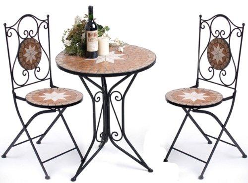 ... Tisch Mit 2 Stühlen Mosaik U0026 Metall Sitzgruppe Gartengarnitur Mosaik U2013  Gartenmöbel Sets