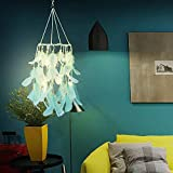 Ruili Inc Led Dream Catcher Light Boho Dreamcatcher Light Handmade 3D Wind Chime Led Fairy Light Lantern Design Wall Hanging Ceiling Bedroom Decor Ornament Craft Green