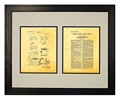 Chain Saw Machine Patent Art Print in a Solid Pine Wood Frame with a Double Mat