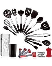Pahajim 12PCS Silicone Cooking Kitchen Utensils Set with Holder, Silicone Utensil Set for Cooking with Wooden Handle BPA Free Non Toxic Nonstick Cookware