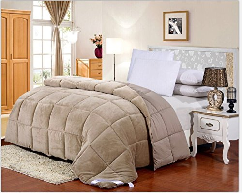 Allergen Barrier (Flannel Goose Down Alternative Comforter , Reversible, Siliconized 7D over-Filled Fiber, Hypoallergenic, Duvet Insert, Barrier on Dust Mites and Allergens ,Full/Queen, 86