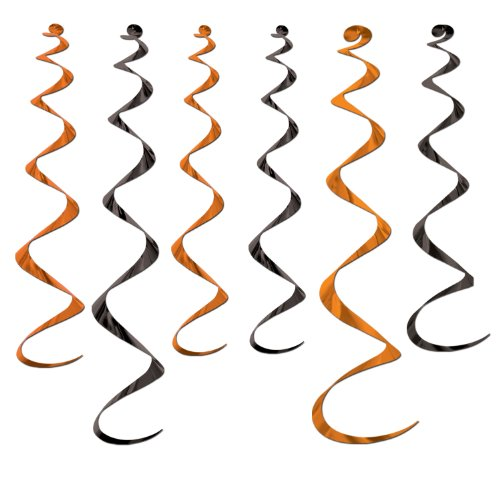Twirly Whirlys (asstd orange & black)    (Black And Orange Party Decorations)
