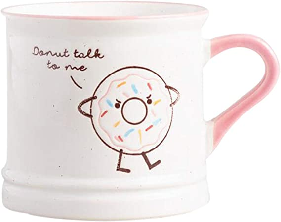 Pink donut and coffee cup.