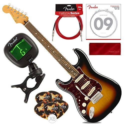 Squier by Fender Classic Vibe Stratocaster '60's Beginner Left Hand Electric Guitar, 3 Color Sunburst with Tuner, Strings, Picks, Cable & Cloth Basic Bundle