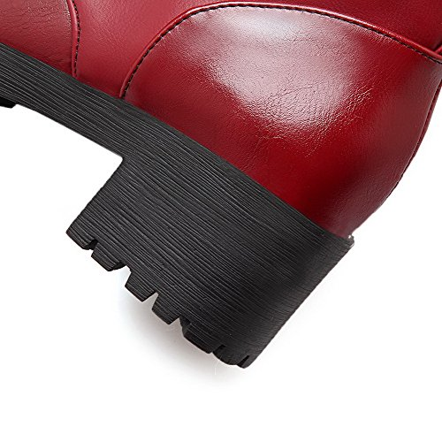 AgooLar Women's PU Solid Buckle Round Closed Toe Kitten-Heels Boots Red moSed8fF