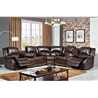 McFerran Home Furniture Bonded Leather Sofa Sectional, SF3592 Brown