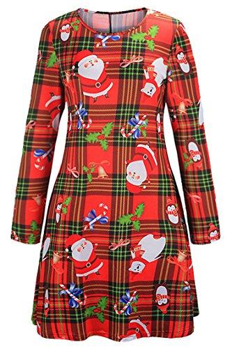 Checkered Holly - Herose Womens 2017 Classic Santas Candy Canes Tartan Print Mini Skater Dress M Red