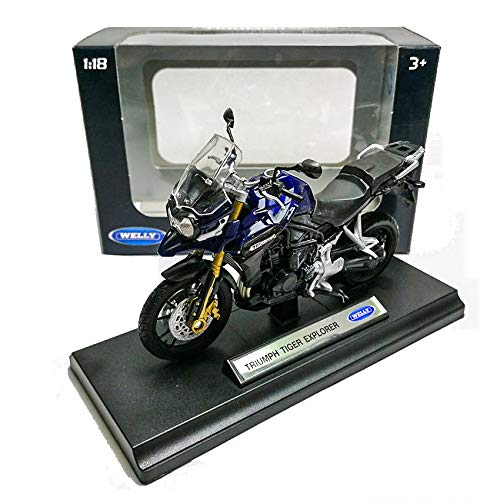 Welly 1:18 Die-cast Triumph Tiger Explorer Motorcycle Blue Model with Box Collection Christmas New Gift ()