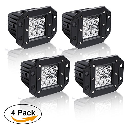 Lower Auxiliary Driving Fog Lights Bumper Grill Offroad Work Lights Spot 3X3 4.5In Flush Mount Pods Cube Reverse Backup Headlight Silverado Ford Ranger F250 F350 Truck Atv 12V Jeep Wrangler Truck