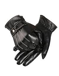 Lowpricenice Men PU Leather Winter Super Driving Warm Gloves Cashmere