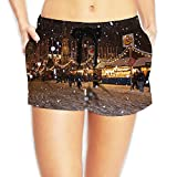 Besioo Beach Shorts Snowy New York Fort Women's Quick Dry Print Swim Trunks Bathing Suits Boardshort With Drawstring