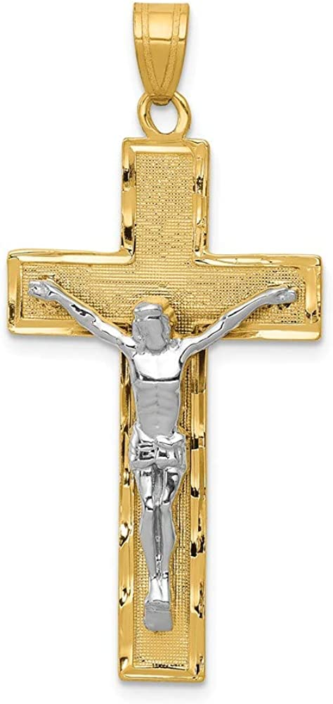 14k Two-tone Gold Diamond-cut Crucifix Pendant