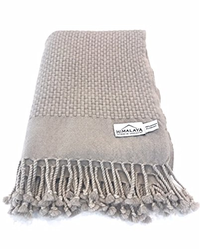 Himalaya Trading Company 100% Cashmere Basketweave Throw in Driftwood Grey