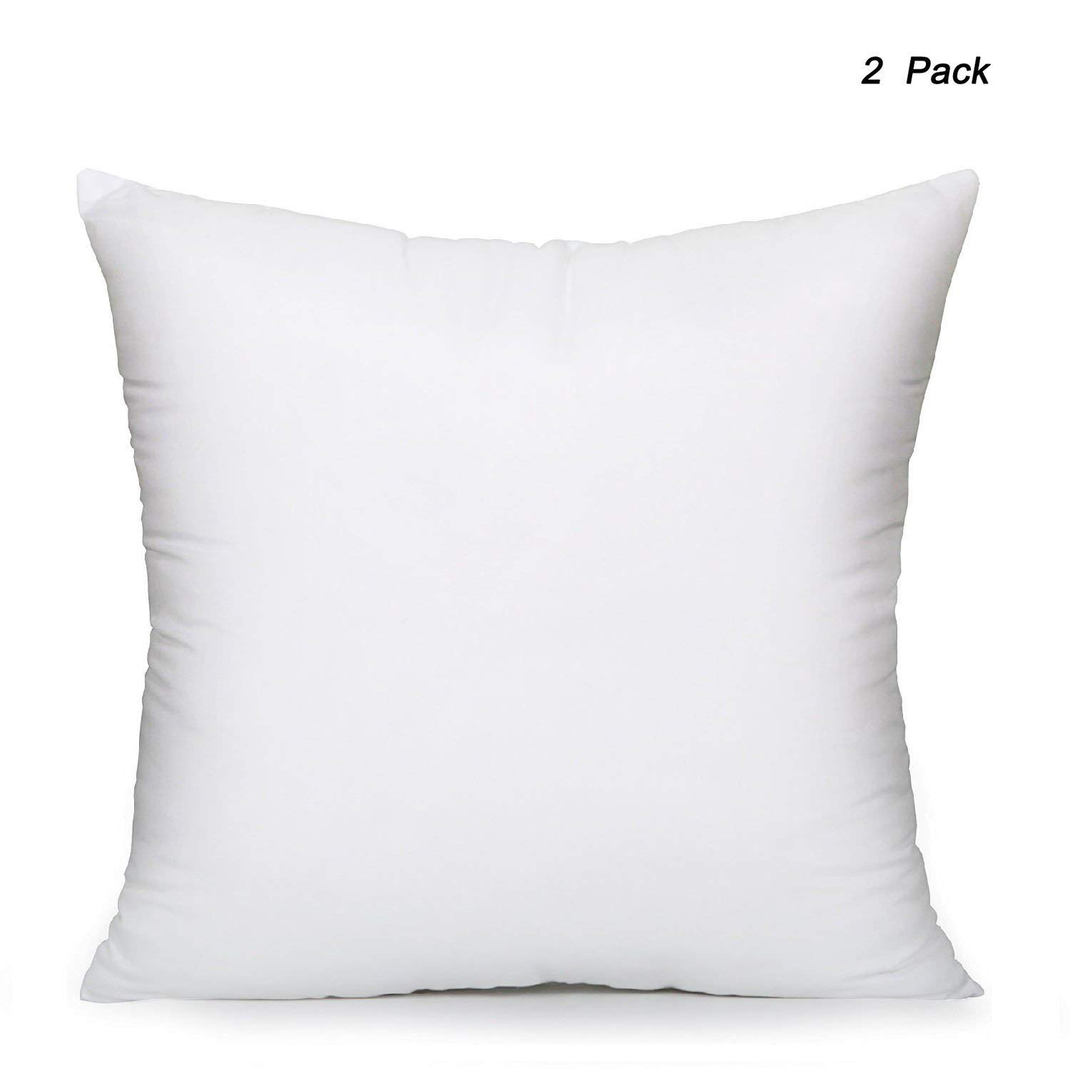 EVERMARKET Square Poly Pillow Insert, 18'' L X 18'' W, White (2)