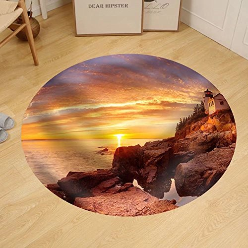 Gzhihine Custom round floor mat the Bass Harbor Head Lighthouse in Acadia National Park Maine Usa. Photographed During a Spectacular - In Harbor Outlet National