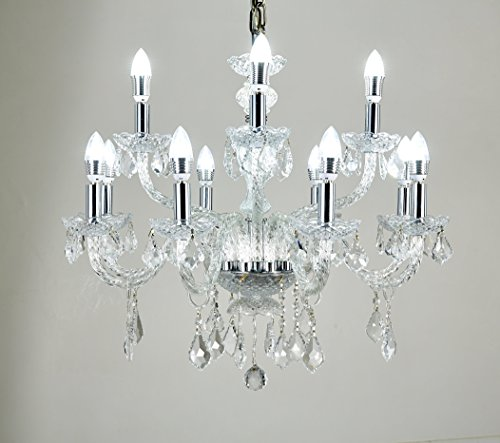 Broadway Silver Classic Crystal Chandeliers Modern Lamps Pendant Light Fixture BL-GJH/D-L8+4 W32 X H30 Inch