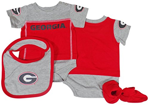 Genuine Stuff Georgia Bulldogs Baby/Infant Lil Jersey Creeper, Bib, Bootie Set 6/9 Months (Genuine Jersey Merchandise)