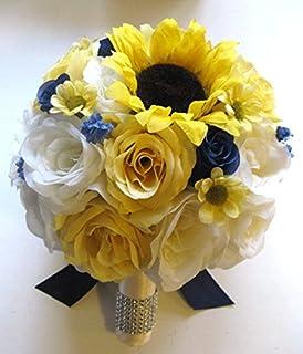 Amazon wedding bouquets bridal silk flowers yellow sunflower wedding silk flowers bridal bouquet yellow sunflower navy blue daisy 17 piece package artificial bouquets arrangements mightylinksfo