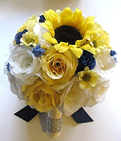 Amazon wedding silk flowers bridal bouquet yellow sunflower wedding silk flowers bridal bouquet yellow sunflower navy blue daisy 17 piece package artificial bouquets arrangements junglespirit Image collections