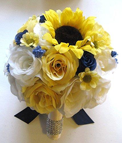 Wedding Silk Flowers Bridal Bouquet YELLOW SUNFLOWER NAVY...